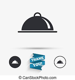nourriture servant, signe, table, icon., plat, setting.