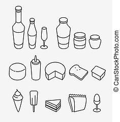 nourriture, set., icône, ligne, mince
