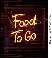 nourriture, signe, aller, néon