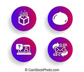 nourriture., signe., vecteur, set., toile, écrou, soutien, icônes, faq, augmented, macadamia, végétarien, réalité virtuelle, e-mail