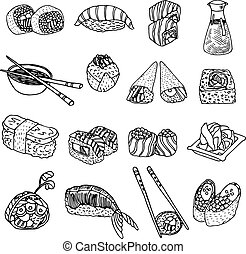 nourriture, sushi, ensemble, asie, icônes