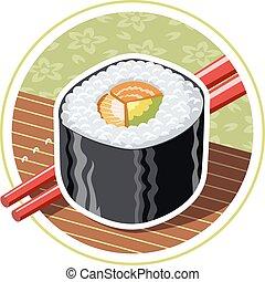 nourriture, sushi., japonaise