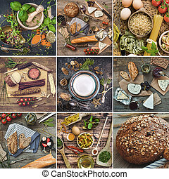 nourriture, table bois
