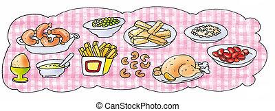 nourriture, table, chargé