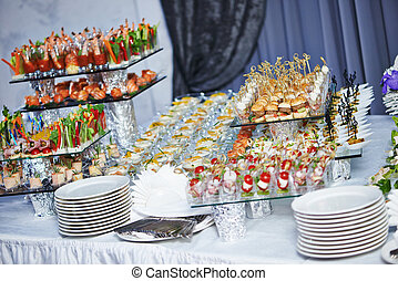 nourriture, table, ensemble, service, restauration