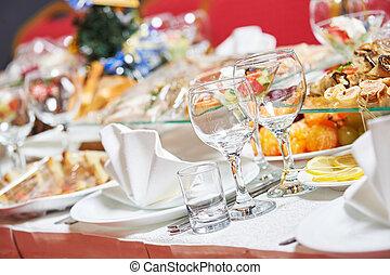 nourriture, table, restaurant, restauration