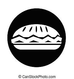 nourriture, tarte, icône