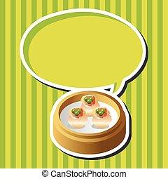 nourriture, thème, éléments, chinois