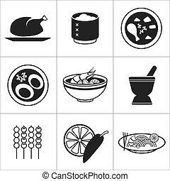 nourriture, thaï, icône