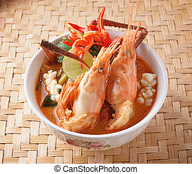 nourriture, thaï, yum, goong, tom