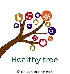 nourriture, ton, conception, croquis, sain, arbre