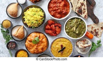 nourriture, traditionnel, céramique, indien, bols