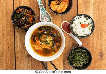 nourriture, végétarien, asiatique, composition