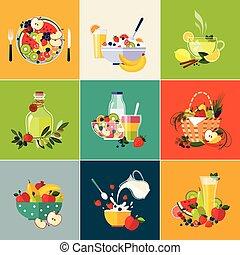 nourriture, végétarien, cuisine, restaurant