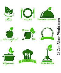 nourriture, végétarien, ensemble, icônes