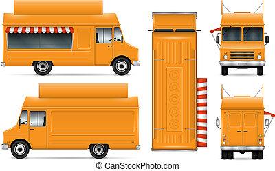 nourriture, vecteur, camion, illustration