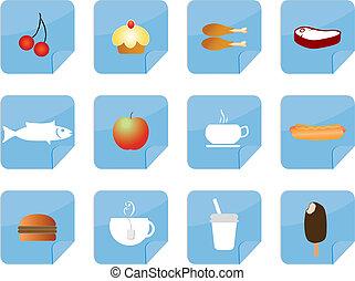 nourriture, vecteur, icônes