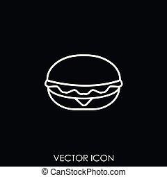 nourriture, vecteur, jeûne, icône