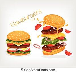 nourriture, vecteur, jeûne, illustration