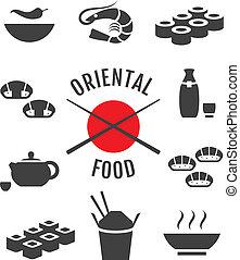 nourriture, vecteur, oriental, japonaise, icônes