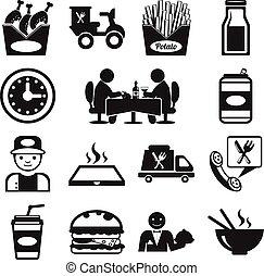 nourriture, vecteur, stockage, pictogramme, icône
