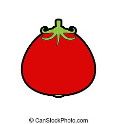 nourriture, vegetable., dessin animé, isolated., illustration, vecteur, tomate