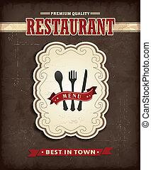 nourriture, vendange, conception, menu, affiche