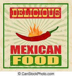 nourriture, vendange, mexicain, affiche