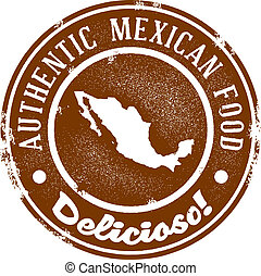 nourriture, vendange, mexicain, timbre