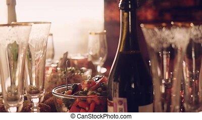 nourriture, verre, slowmotion., table, décoré, 1920x1080,...