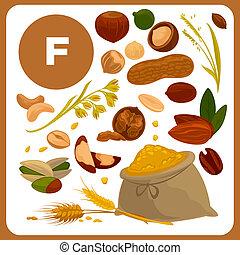 nourriture, vitamine, illustration, isolé, illustrations, f.