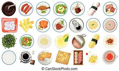 nourriture, vue, ensemble, aérien