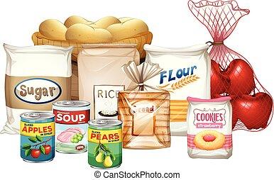 nourritures, ensemble, variété