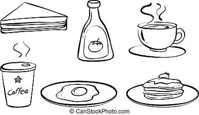 nourritures, petit déjeuner, boissons