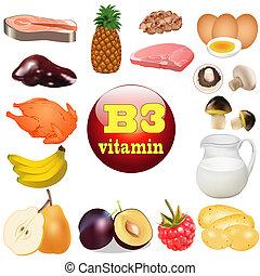 nourritures, vitamine, origine, trois, b., plante