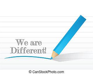 nous, écrit, différent