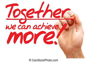 nous, écriture, business, boîte, plus, ensemble, réaliser, main, concept