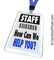 nous, aide, -, comment, boîte, vous, écusson, lanyard, personnel