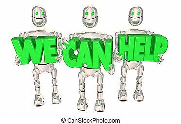 nous, aide, service, soutien, robots, illustration, boîte, assistance, 3d