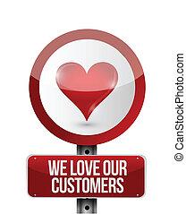 nous, amour, clients, illustration, conception, notre