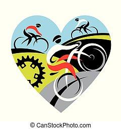 nous, amour, cyclisme, symbole.