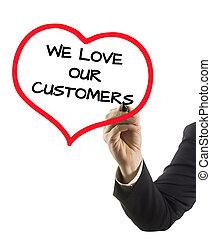 nous, amour, texte, pointe feutre, clients, main, homme affaires, marqueur, notre, écriture