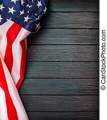 nous, arrière-plan., drapeau, bois