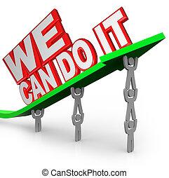 nous, boîte, faire, il, équipe, gens, travail, ensemble, levage, mots