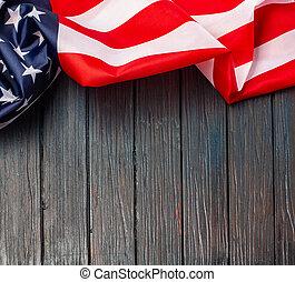 nous, bois, arrière-plan., drapeau