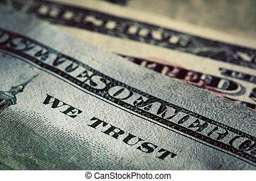 nous, confiance, dieu, dollars, note, une, devise, cent