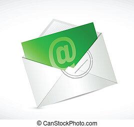 nous, contact, vert, illustration, conception, email