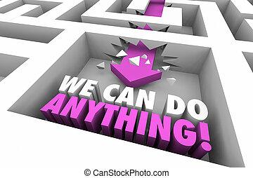 nous, flèche, n'importe quoi, illustration, réussir, boîte, mots, labyrinthe, 3d