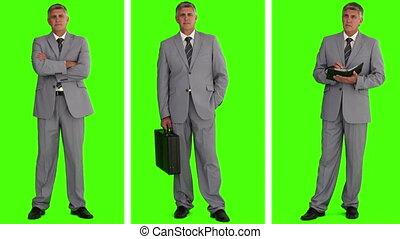 nous, homme affaires, trois, situations, où, gris, différent, boîte, voir, complet