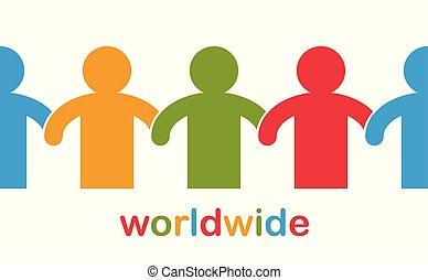 nous, icon., allégorie, illustration, stand, coopération, mondiale, amitié, solidarité, vecteur, logo, concept, races, société, une, unité, mondial, gens, global, togetherness, ou, différent